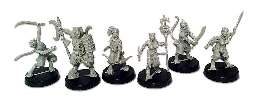 Unpainted Khalimans miniatures for Alkemy Starter Box
