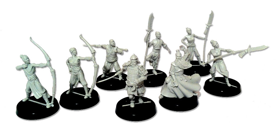 Unpainted triadics miniatures for Alkemy Starter Box